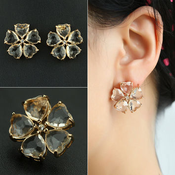 Transparent Glass Crystal Floral Earring Accessory [7204784327]