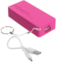 5600mAh USB External Battery Power Bank Pack Charger Cable - Hot Pink Rectangle for LG G3