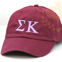Sigma Kappa Greek Only Sorority Baseball Cap - Custom Color Hat and Embroidery.