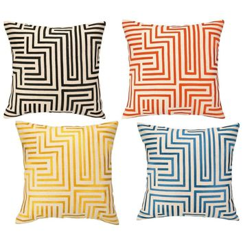 Mira Mesa Embroidered Geometric Pillow