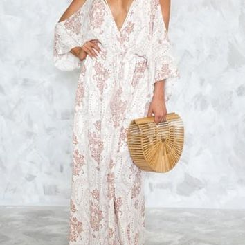 White Cut Out Drawstring Lace-up Flowy Deep V-neck Las Vegas Bohemian Maxi Dress
