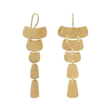 14K Gold Plated Textured Cascading Plate Earrings