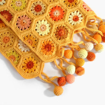 Crocheted Hexagon Baby Blanket - Yellow and Orange