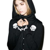 Sourpuss Clothing Party Skull Cardigan Black