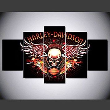 [Small] Premium Quality Canvas Printed Wall Art Poster 5 Pieces / 5 Pannel Wall Decor harley davidson skull logo Painting, Home Decor Pictures - With Wooden Frame