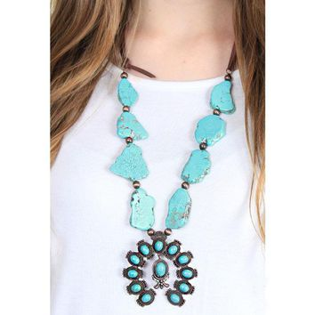 Squash Blossom Necklace in Turquoise and Leather