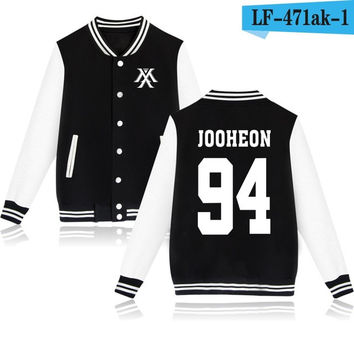 Monsta X Jooheon Black White Korean Pop Kpop jacket album kpop Baseball Letterman style fashion trendy  SQ12017