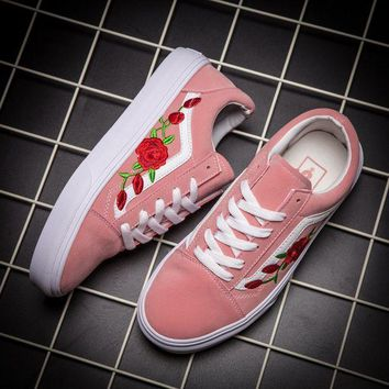 ESBON Vans Classics Old Skool Rose Floral Embroidered Sneaker Women Casual Shoes