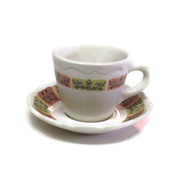 Vintage Syracuse Restaurant China Cup and Saucer, 1970s Kitchenware
