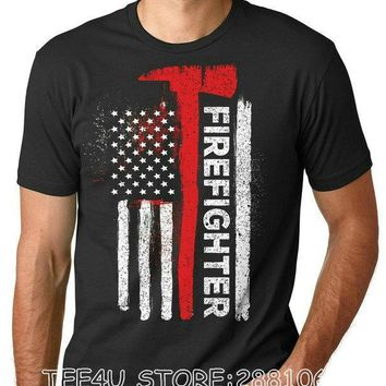 American Firefighter T-Shirts - Men's Crew Neck Novelty Top Tee