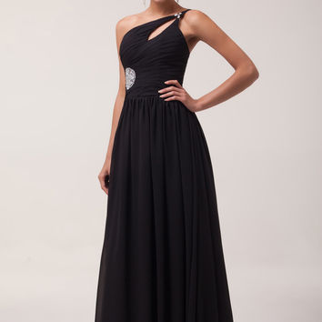 Black One Shoulder Keyhole Cutout Embroidered Chiffon Maxi Dresss