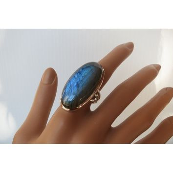 Classic 925 Sterling Silver Imitation Gemstone Oval Cut Labradorite Diamonds Ring Anniversary Wedding Engagement Women Jewelry S