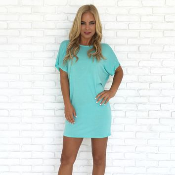 Simply Crossed Jersey Tunic in Pop Mint