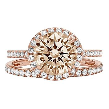 14K Rose Gold 2.3CT Round Cut Champagne Russian Lab Diamond Halo Bridal Set