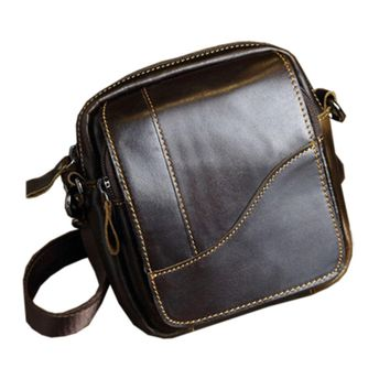 New Men Genuine Leather First Layer Cowhide Cross Body Messenger Shoulder Pouch Bag Waist Bag