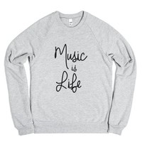 music is life-Unisex Heather Grey Sweatshirt
