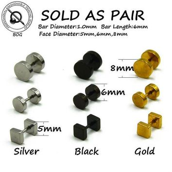 ac PEAPO2Q BOG-Pair 316L Surgical Steel Ear Studs Earrings Cheater Faux Fake Ear Tunnel Plugs Gauges Body Piercing Jewelry  18g Gold Black