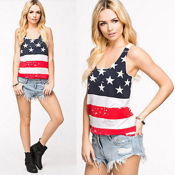 Stars Stripes American flag USA Summer Vest Tank Top Sleeveless Shirt Outfit
