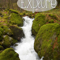 "Inspirational Poster – 8 x 10 Wall Art Print – Inspirational Quote ""Explore"" – Travel Photography – Stream & Mossy Rocks - INSTANT DOWNLOAD"