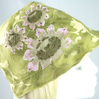 Light Moss Green Summer Hat | Silky Sheer Gatsby Style 1920s Cloche | Beaded Hat Size Medium.
