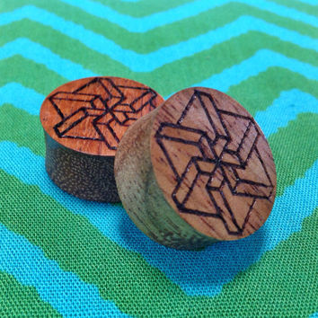 Geometric Pinwheel Koa Wood Plugs Handmade Gauges Sacred Geometry from Hawaii