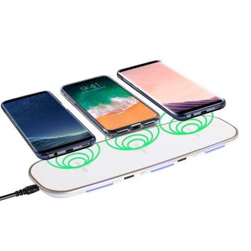 DCK4S2 Qi Compatible Wireless Charger, Insten Wireless Charging Pad Charging Hub w/ 3 Slots, 2 USB Ports, Charge Up to 5 Devices for Apple iPhone X/iPhone 8/8 Plus/Samsung Galaxy S8/S7/Note 8, White