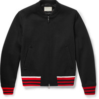 Gucci - Stripe-Trimmed Wool-Blend Bomber Jacket