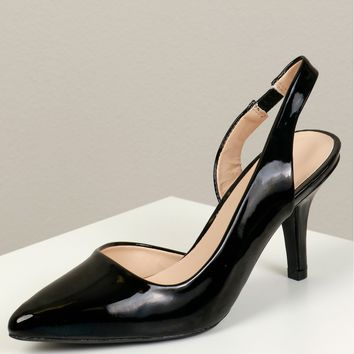 Pointed Toe Slingback Heel Black