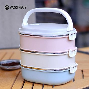 WORTHBUY 3 Layers 304 Stainless Steel Japanese Bento Box Kids Portable Outdoor School Picnic Container For Food Lunch Boxs