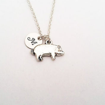 Tiny pig necklace, initial necklace, potbelly pig necklace, pot-belly pig charm, pot belly pig pendant farm animal hog necklace silver chain