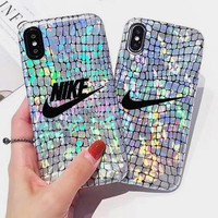 Nike Laser The new phantom color laser crocodile print iphone8plus nikeX mobile phone shell 7plus6s imitation leather hipster men and women.
