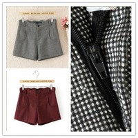 Women : Houndstooth wool pantsbootcut Boots pants shorts wave waist fashion final clearance ghl0190