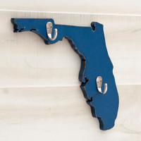 Florida or any US state shape wood cutout sign home organizer wall art with key hooks. College Dorm Country Chic Office Decor. 35 colors