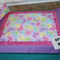 "American Girl sized, reversible doll bed quilt 16"" x 19.5"" and pillow 4"" x 6"""