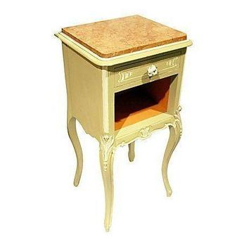 Pre-owned French Painted Marble Nightstand