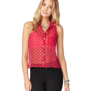 Aeropostale  Womens Sheer Sleeveless Heart Top - Red, X-Small