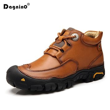 DAGNINO Winter Leather Men's Waterproof Rubber Ankle Boots Genuine Leisure Retro Shoes For Men Outdoor Sneakers Big size 38-46