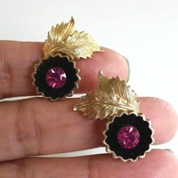 Vtg Pink Fuchsia RS Black Enamel Flower Leaves GoldTone Clip Earrings Pat2733491