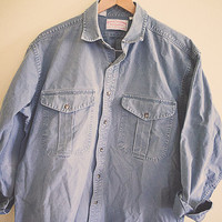 Filson Blue Grey Canvas Long Sleeve Unisex Large  L Work Shirt Hipster Seattle Style CC Filson Garments