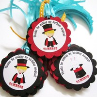 Magic Birthday Party Favor Tags with Magician and Bunny in the Hat