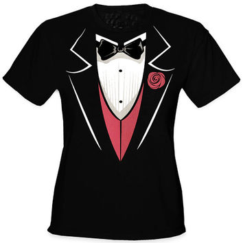 Tuxedo With Pink Vest Girl's T-Shirt,T-shirt,T shirt dope,Custom T shirt,Hoodies,Girls Hoodies,Sweatshirts,Funny T shirt,Awesome T shirt