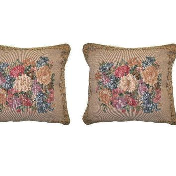 "Set of Two Breath of Spring Floral Elegant Novelty Woven Square Throw Toss Accent Cushion Cover Pillow with Inserts - 2-Pieces - 18"" x 18"" (CC45X45CM3089)"