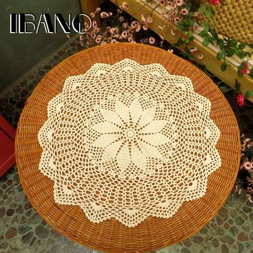60CM Round Vintage Crochet Coasters Cotton Lace Cup Mat Placemat Handmade Shabby Chic DIY Crocheted Table Cloth