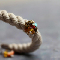 Sailor Rope Nautical Bracelet Natural Amber Teal Turquoise Linen White Honey Earthy Gray Summer Fashion Jewelry Fiber
