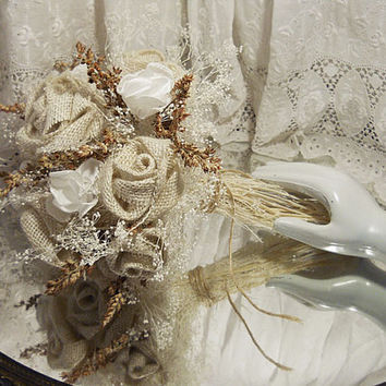 "Burlap and Babies Breath Bridal Bouquet, Rustic, Elegant and Country. Measures 9"" wide by 13"" tall. Ready to Ship!"