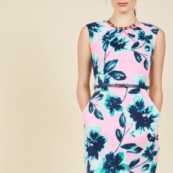 Teaching Classy Sheath Dress in Pink Blooms | Mod Retro Vintage Dresses | ModCloth.com