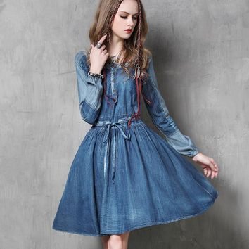 Bohemian Fit and Flare Denim Dress