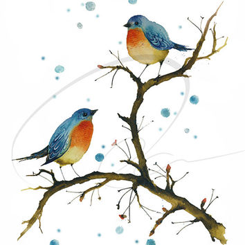 Warm inside - Art Print cute birds  winter snow orange watercolor painting blue wall art home decor Oladesign 8x10