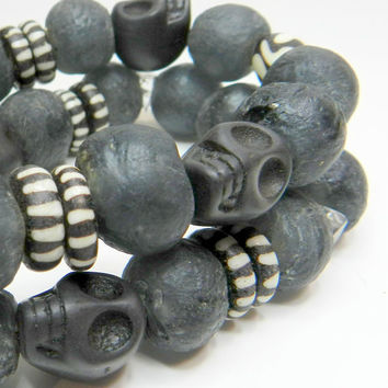 Black, African Trade bead recycled glass stretch bracelets, 2 stacking bracelets, skull jewelry, ethnic, boho jewelry
