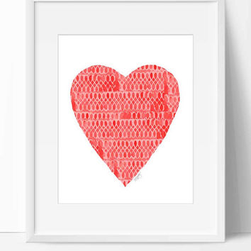 Valentines Heart Art, Valentines Decor, Red and White Art, 8x10 Print, Red Heart Painting, Henna Inspired Art, Red Nursery Decor